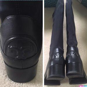 NIB Tory Burch Caitlin Stretch Boot Black Size 9